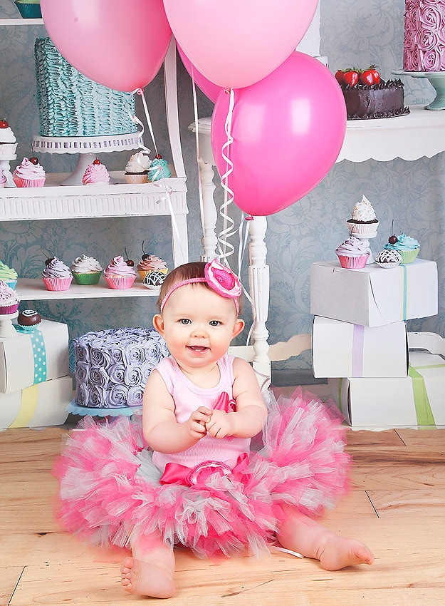 Baby Girl Birthday Dress Tutu Set Pink and Mint Tutus