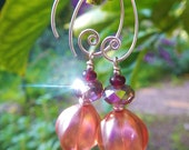 Sweet Marsala Earrings - Lustrous Czech Glass Melon Beads, Rose Prism Crystals, Vintage Glass Beads & Handmade Sterling Silver Ear Wires