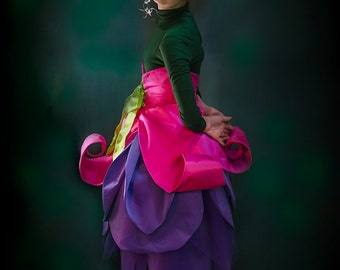 Girls Fairy Costume or Elf Costume, Flower Costume, Fuchsia with Purple Petals and Hot pink Calyx Belt for Halloween or cosplay