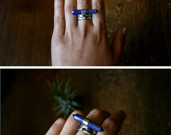 Lapis Lazuli Ring- MADE TO ORDER- 3 Piece Stacking Rings- Metalsmith Rings, Blue Crystal Point, Sterling Silver