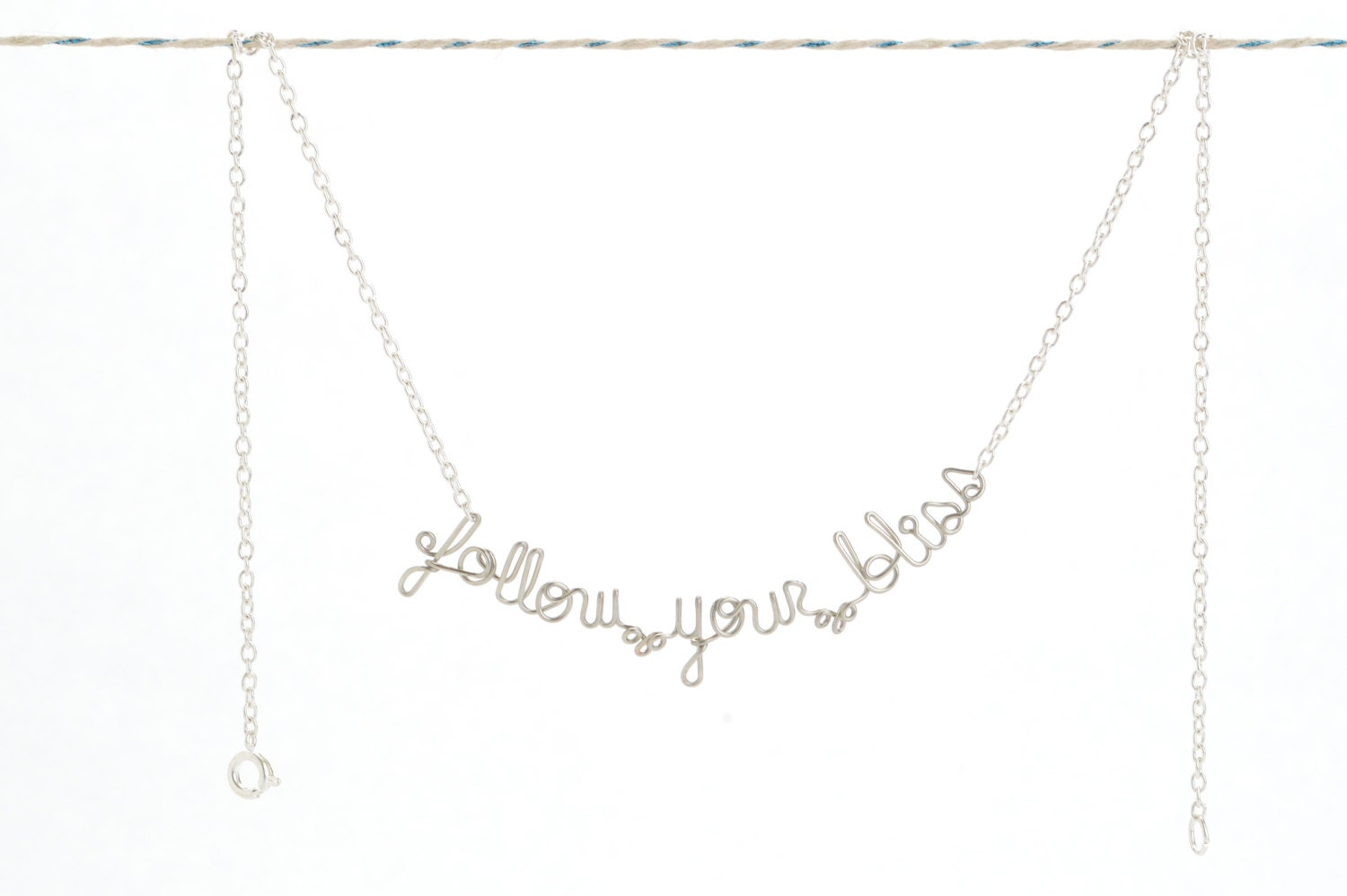 Follow Your Bliss Necklace - Follow Your Heart Jewelry - Inspirational Phrase - Boho Necklace