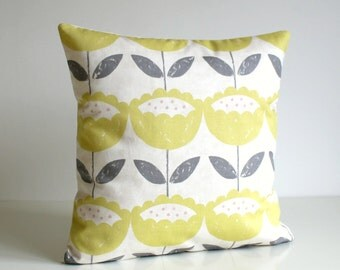 16x16 pillow cover, pillow sham, accent pillow, sofa pillow, cotton pillow, cushion cover, 16 inch throw pillow - Brush Flowers Citrus