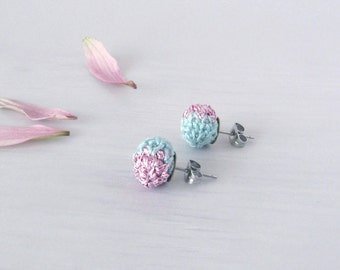 Studs Cabochon Bicolor, Handmade Stud Earrings, fancy textile Jewelry, elegant extravagant accessories for women, boho sophisticated gift