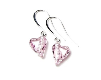 Rosaline Swarovski Crystal Light Pink Wild Heart Silver Finish Earrings, Romantic Gift, Valentine's Day Jewelry, Modern, Classic, New Trend