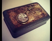 Mens steampunk sepia and black tone keyring keychain