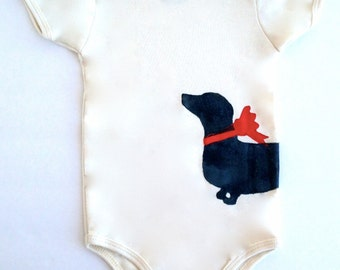 Dachshund Baby Bodysuit Organic Doxie Clothes % to ANIMAL RESCUE Infant ECO Romper Wiener Dog one piece clothing red creeper, 3-6 mo 9-12 mo