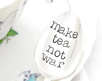 Make Tea Not War. Stamped Spoon. Peace Teaspoons by Milk & Honey.