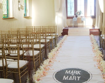 Reserved 40ft Ivory Wedding Aisle Runner with Custom Monogram Initials - Non-Slip, Slip Free - Ivory Canvas-Classic Traditional