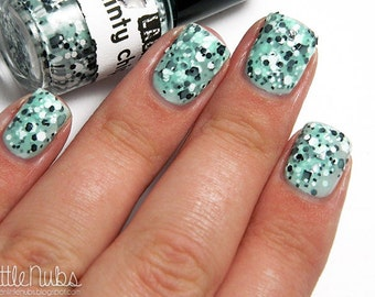 Minty Chip:  Custom-Blended Glitter Nail Polish / Indie Lacquer