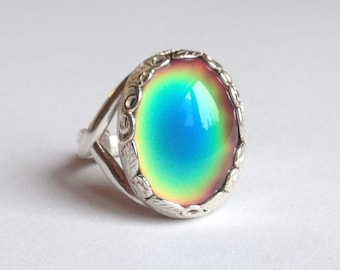 Mood Ring Sterling Silver 925  - 18x13 mm - High Quality - adjustable - new