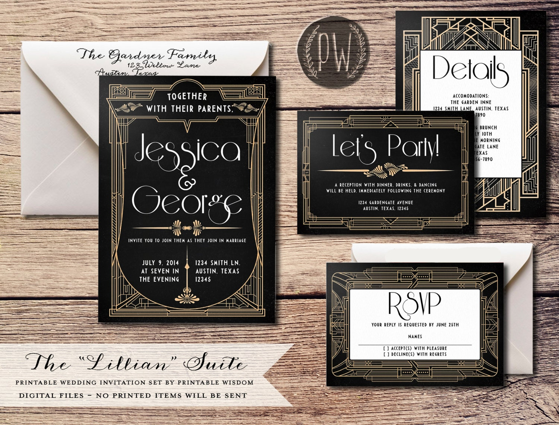Artist Wedding Invitations: Art Deco Wedding Invitation Suite Printable Wedding Invitation