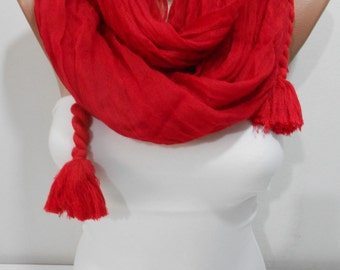 Christmas Gift Tassel Scarf Red Scarf Shawl Cowl Scarf Crinkle Scarf Fall Winter Fashion Scarf Women Holiday Fashion Accessories For Her