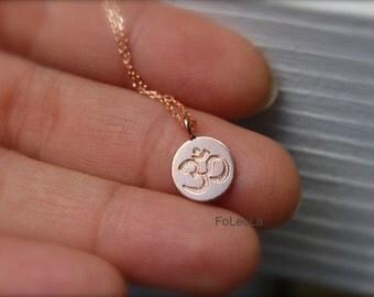 Rose gold Om Necklace-  Spiritual necklaces, yoga necklace, rose gold ohm.