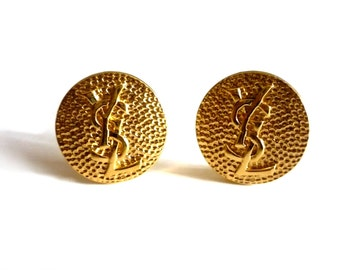 YVES SAINT LAURENT ~ Authentic Vintage Gold Plated Earrings Logo