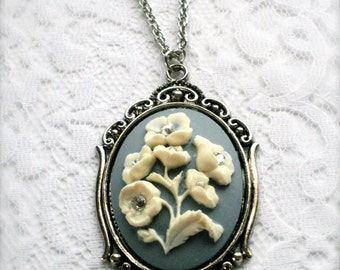 Bouquet Cameo Necklace, Victorian Blue & White Cameo Necklace with Swarovski Crystals, Floral Design Cameo, Romantic Jewelry, Gift for Her