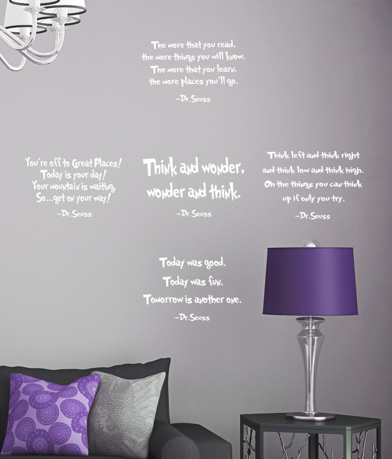 set of 5 dr seuss quotes wall decal the more that you read think set of 5 dr seuss quotes wall decal the more that you read think and wonder phrase vinyl sticker education book library classroom