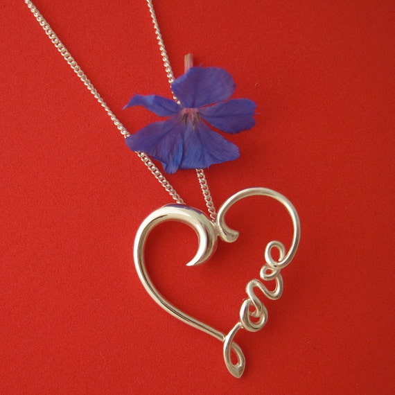Silver Heart Wirework Necklace, Love Heart Word Pendant with Chain