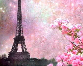 Paris Photography, Eiffel Tower Spring Pink Floral, Paris Pink Eiffel Tower Prints, Eiffel Tower Cherry Blossoms, Paris Home Decor Wall Art