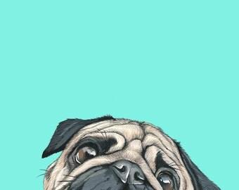Custom Dog Portrait - 8x10 inch Custom Portrait - Pet Painting - Pug Portrait -PugPainting - Custom Pet Portrait- Dog Art