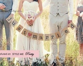 """FREE SHIPPING - """"just married"""" bunting banner-Photo Prop"""