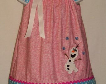 Frozen OLAF Dress / Snowman / Elsa / Anna / Disney Inspired / Birthday / Pink / Blue / Baby / Girl / Toddler / Custom Boutique Clothing