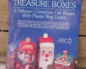 Vintage Christmas Gift Boxes, Cardboard Treat Box, Cookie Gift Boxes, 1982, Set of 3, Retro Food Box, Christmas Boxes