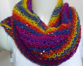 Hand Knit Rainbow Shawl with Sequins - Gypsy Shawl, Boho Shawl, Colorful Lace Wrap, Soft Striped Scarf, Ready to Ship