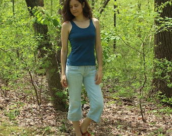 womens organic hemp tank top - 100% hemp and organic cotton - custom made - hand dyed