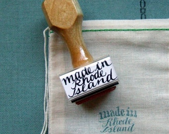 Made in Rhode Island, Wood Handle Stamp, Modern Calligraphy Stamp, Packaging Design, Your State Rubber Stamp