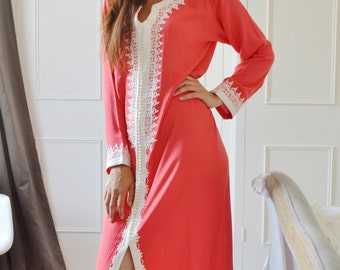 Salmon Pink Caftan Maxi Dress- Karima Style-loungewear,resortwear,resortwear, Ramadan, Eid, Birthdays,Honeymoon or Maternity Gifts, kaftan