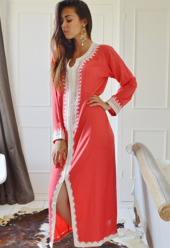 Spring Salmon Pink Caftan Maxi Dress- Karima-loungewear, Birthdays,Honeymoon or Maternity Gifts, kaftan