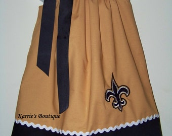 Saints Pillowcase Dress / Fleur de lis / Black & Gold / New Orleans / Game Day Dress / Football / Saints Baby/ Girl/ Custom Boutique Clothes