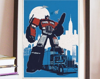 Vintage Transformers Optimus Prime Poster - Different sizes - Fan Art Geek print