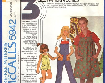 1978 Girls' Jumpsuit or Jumper and Blouse Size 7,8,10 - Vintage McCall's Sewing Pattern 5942