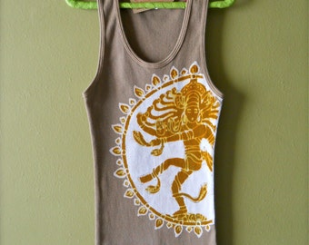 Goddess Shiva gold, Yoga top, Yoga gifts, hand dyed clothing boho tops & tees hand painted tank top, Gift for her, batik tie dye, beach wear