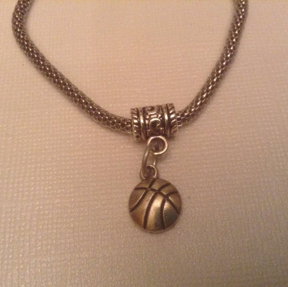 Basketball Charm Bracelet: Basketball Charm, 1 Dangle Charm Bead, Bracelet Charms
