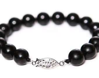 Black Onyx 10mm Round Beaded Gemstone Bracelet with 925 Sterling Silver Clasp