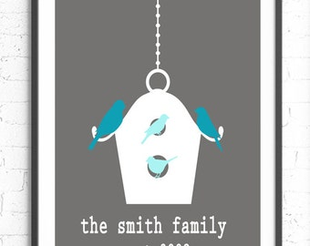 Personalized Family Wall Art, Bird House Print, Custom Family Gift,  Wall Art, Housewarming Gift, Bird Family Art, Gray Aqua Wall Art