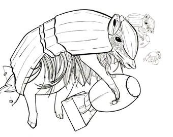 Armadillo Animal Lineart Warfare Original Art Print
