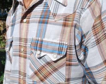 vintage Dee Cee brand western plaid snap shirt large.