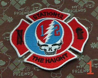 Grateful Dead Patch Lighting Bolt Skull Station 12 Haight 4 Inch