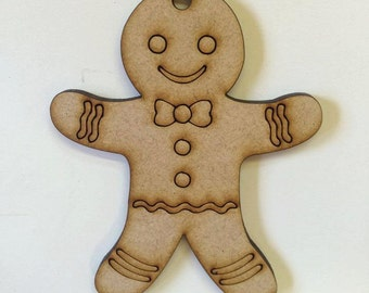 Gingerbread man decoration. Pack of ten 100mm mdf decoration