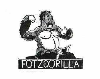 FOTZGORILLA black and white linocut on 300 gr. acid-free cardboard, 2014, Edition: 100 pieces