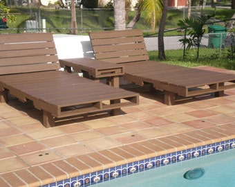 Custom made outdoor pool and patio pallet furniture for Garden pool made from pallets