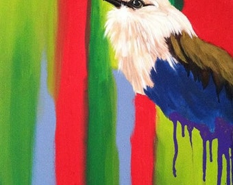 "Original Bird Painting. Blue Bellied Roller. ""No where to Land"" series."