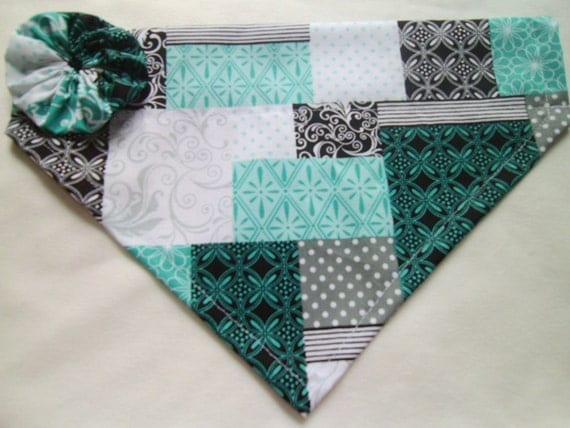 Dog Bandana, Quilted Pattern,  black,  blue,  gray,  teal, Over the Collar Bandana with Flower, Scarf