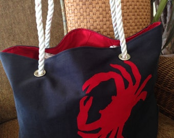 Crab Beach Bag, Nautical Tote