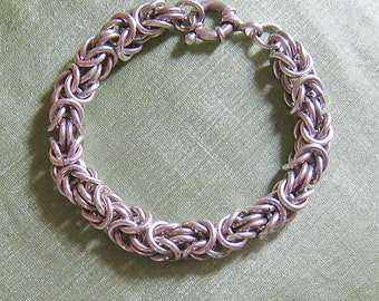 Hand crafted sterling silver chain maille bracelet