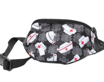 Fanny pack Nurses Medical cap fabric - Cute  - Hip Waist Bag for travel, sport, and hiking 2-Zippered compartments