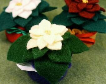FREE SHIP Mini felt poinsettia pincushion or ornament made to order